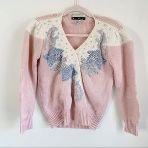 Dana Scott Vintage Grandma Blush Knit Sweater M